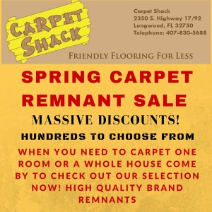flyer of carpet shack spring sale