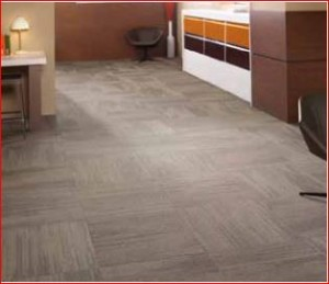 Carpet tiles on office floor