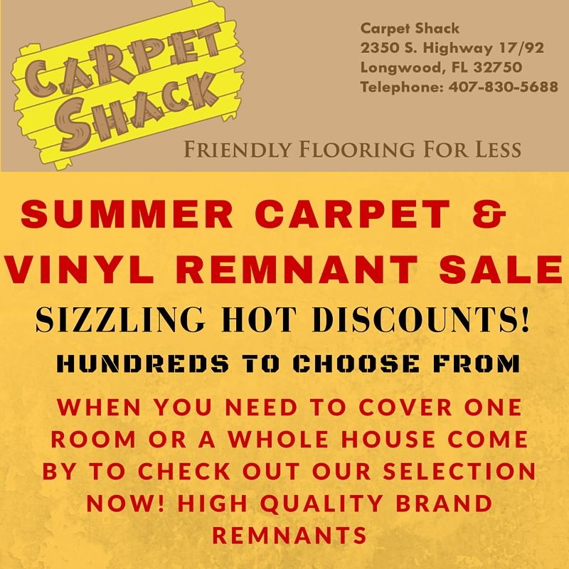 flyer of carpet shack summer sale